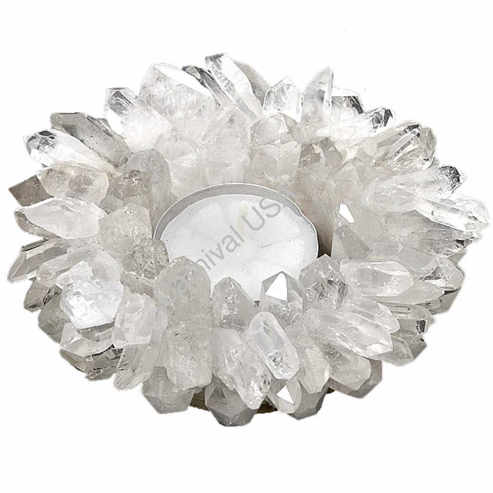 Clear Quartz Rd Candle holder