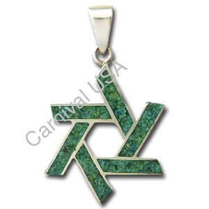 Chrysocolla Star of David Pendant